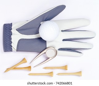 Golf equipement isolated over white