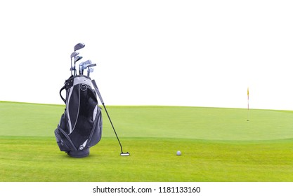 Golf equipment and golf bag , putter, ball on green isolated on white background.