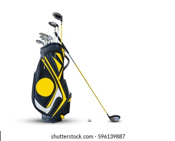 Golf equipment golf ball and golf bag isolated.