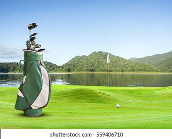 golf equipment and golf ball on green .