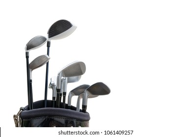 Golf equipment isolated on white background.