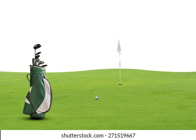 golf equipment on green and hole on white background.