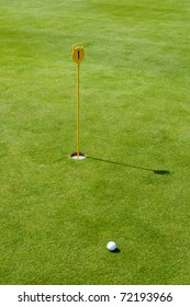 Golf flag with ball and green