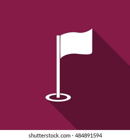 Golf flag flat icon with long shadow.