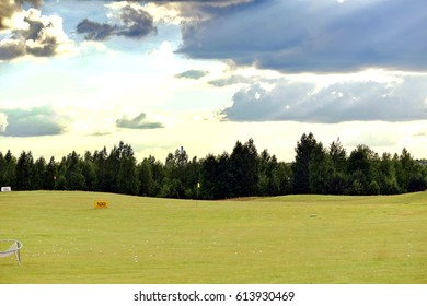 golf green course at sunset