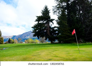 Golf green in Glenorchy, South Island, New Zealand
