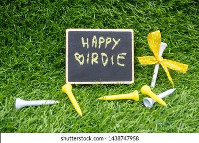 Golf Happy Birthday to golfer with golf ball on green grass