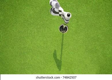 golf hole flag on field