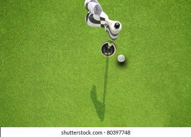 golf hole flag on a field