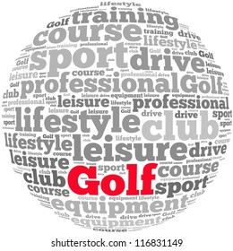 Golf info-text graphics and arrangement concept on white background (word cloud)