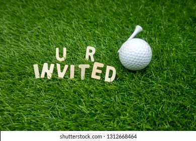 Golf invitation you are invited with golf ball and tee on green grass