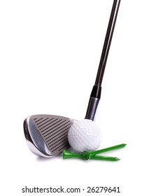 Golf Iron, White Ball, Green Tees on White Background
