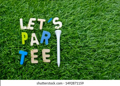 Golf Party invitation with golf ball and tee on green grass