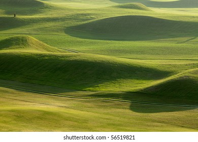 Golf place with beautiful green for background