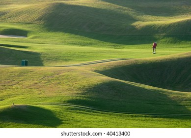 Golf place with beautiful green and shadow