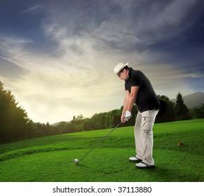 golf player in a beautiful natural landscape