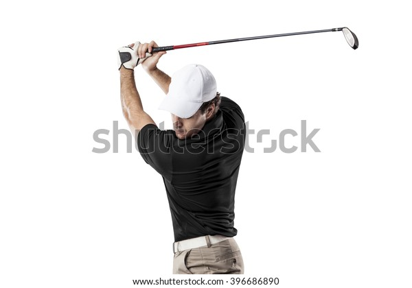 Golf Player in a black shirt taking a swing, on a white Background.