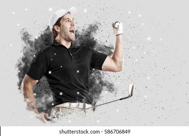 Golf Player with a black uniform coming out of a blast of smoke .