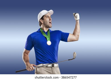 Golf Player in a blue shirt celebrating with a golden medal, on a blue Background.