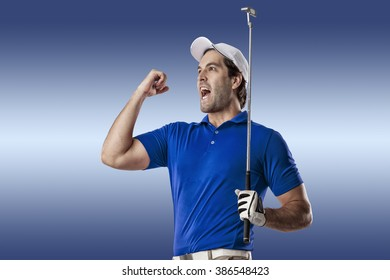 Golf Player in a blue shirt celebrating, on a blue Background.