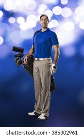 Golf Player in a blue shirt, standing with a bag of golf clubs on his back, on a blue lights Background.