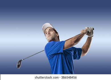 Golf Player in a blue shirt taking a swing, on a blue Background.