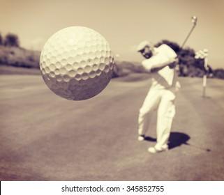 Golf player at club