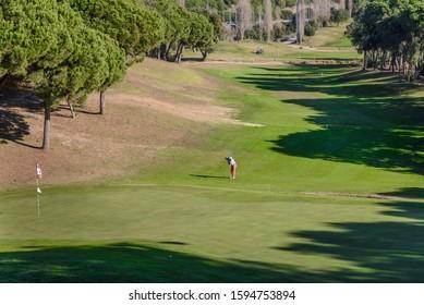 Golf player at the golf course, Sant Vicenç de Montalt, Catalonia