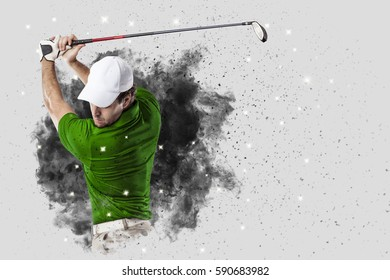 Golf Player with a green uniform coming out of a blast of smoke .