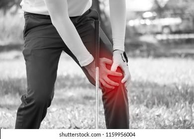 Golf player have knee ache