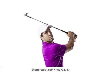 Golf Player in a pink shirt taking a swing, on a white Background.