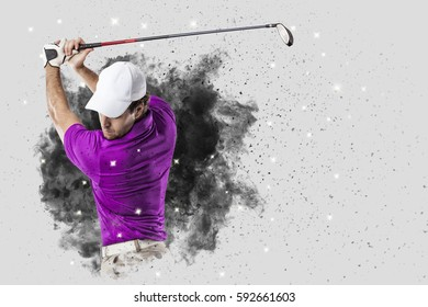 Golf Player with a pink uniform coming out of a blast of smoke .