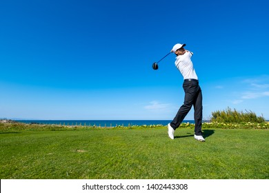Golf player plays on a golf course