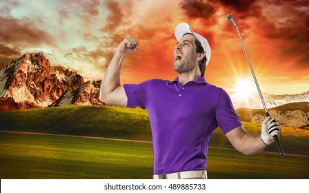 Golf Player in a purple shirt celebrating, on a golf course.