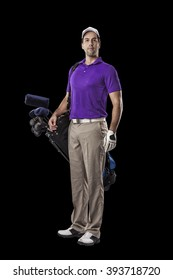 Golf Player in a purple shirt, standing with a bag of golf clubs on his back, on a Black Background.