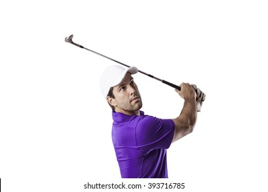 Golf Player in a purple shirt taking a swing, on a white Background.