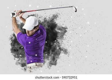 Golf Player with a purple uniform coming out of a blast of smoke .