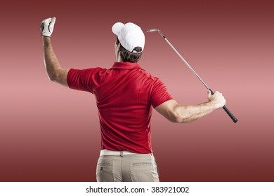 Golf Player in a red shirt celebrating, on a red Background.