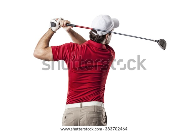 Golf Player in a red shirt taking a swing, on a white Background.