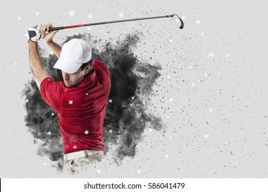 Golf Player met een rood uniform dat uit een explosie van rook komt.