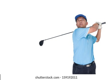 golf player shooting a ball isolated