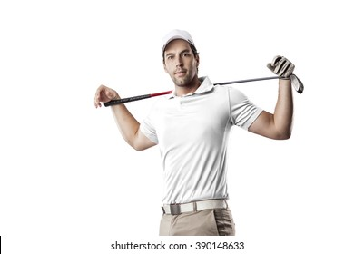 Golf Player in a white shirt, on a white Background.