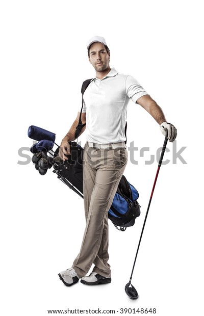 Golf Player in a white shirt, standing with a bag of golf clubs on his back, on a white Background.