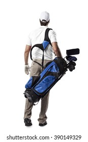 Golf Player in a white shirt walking with a bag of golf clubs on his back, on a white Background.