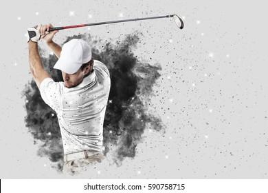 Golf Player met een wit uniform dat uit een explosie van rook komt.