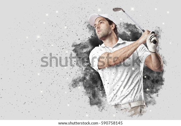 Golf Player with a white uniform coming out of a blast of smoke .