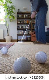 Golf practice at home.