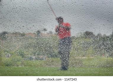 golf in rain