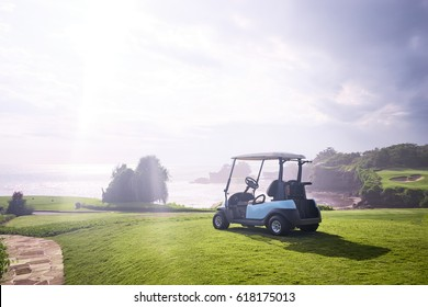 Golf resort with the scenery of the sea. Summer vacation. Bali, Indonesia.