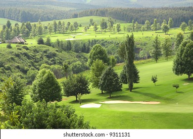Golf resort with thatched houses for accommodation